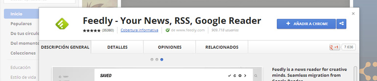 tutorial instalar feedly en chrome paso 1
